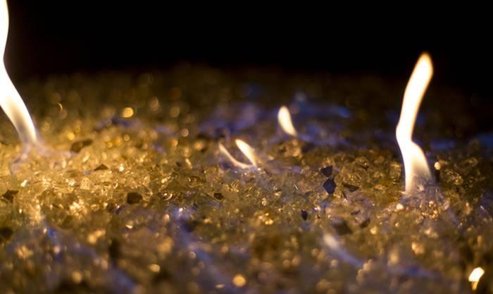 Feuerglas gelbe Flamme